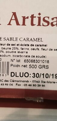 Sablés caramel île de Ré - Ingredients - fr