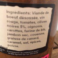 Daube à la provencale - Ingrédients - fr