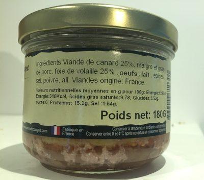 Terrine de canard - Ingrédients
