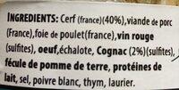 Terrine Biche de Chambord au cognac - Ingrediënten