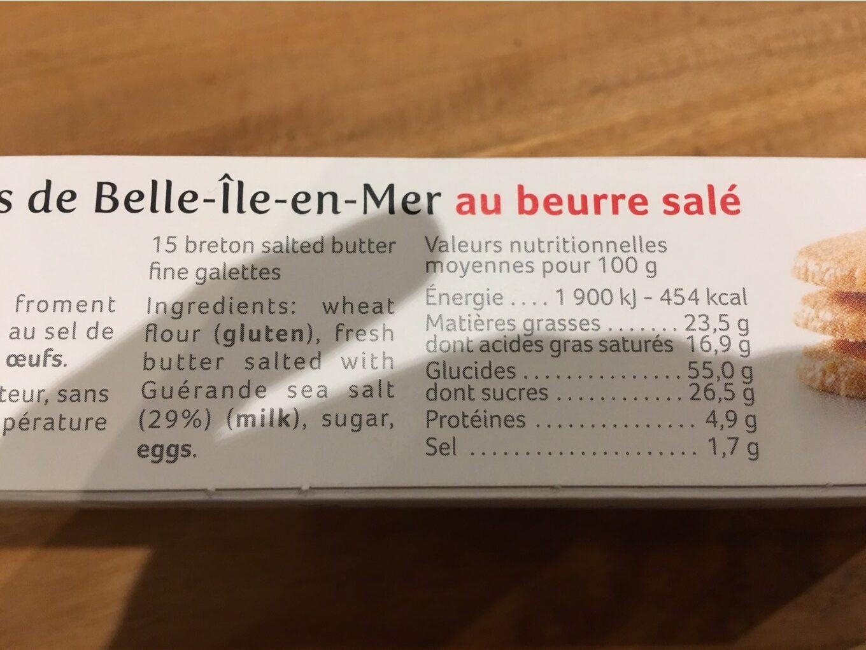 Galettes fines au beurre salé - Informations nutritionnelles