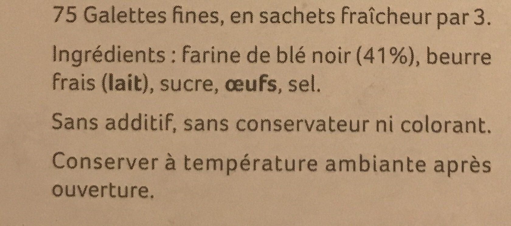 Galettes fines de Belle-Île-en-Mer au blé noir - Ingredients