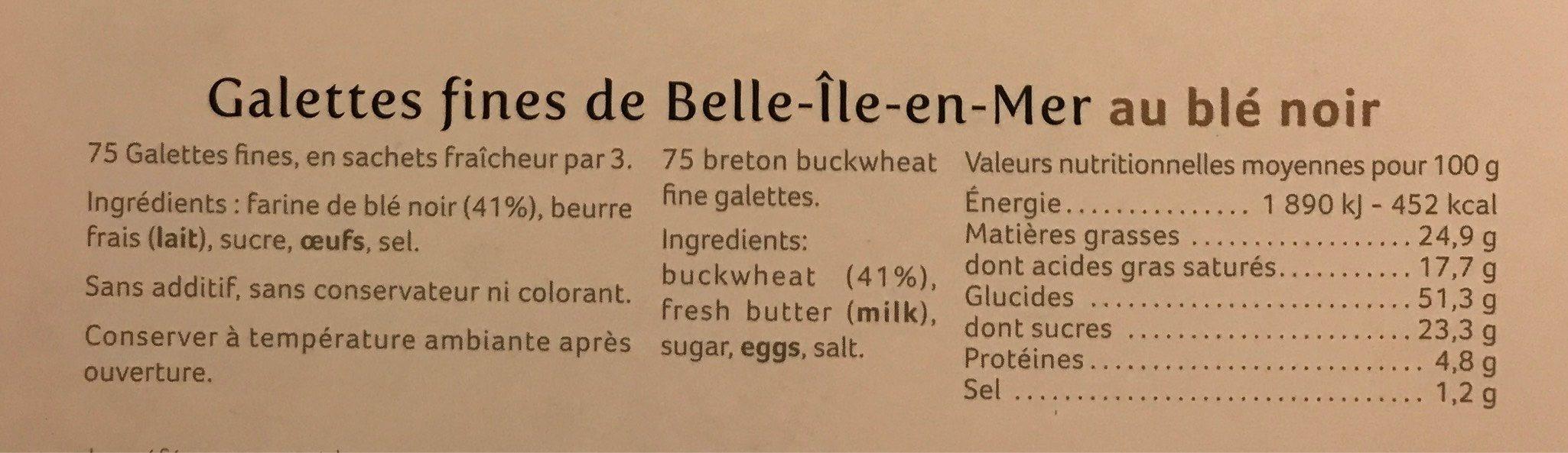 Galettes fines de Belle-Île-en-Mer au blé noir - Nutrition facts