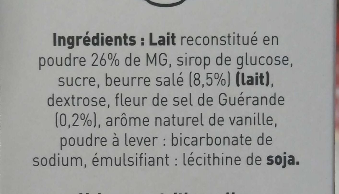 Caramels tendres au beurre salé au sel de Guérande - Ingrédients