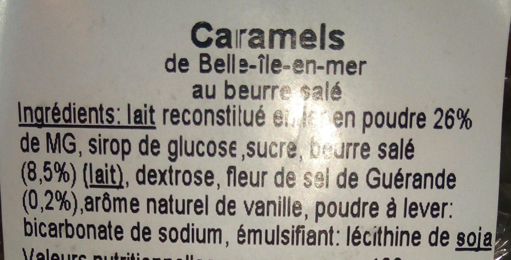 Caramels de Belle Ile en Mer - Ingrediënten