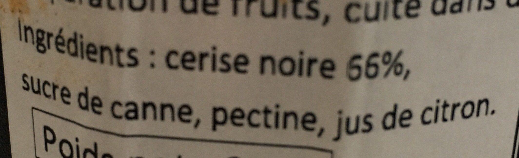 Confitude de cerise noire - Ingrédients