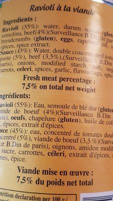 Ravioli A La Viande MS - Ingrédients