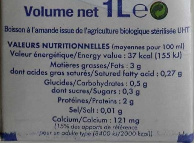 Lait d'amande - Voedingswaarden - fr