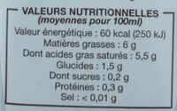 Coco cuisine (6 % MG) - Nutrition facts - fr
