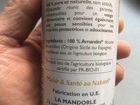 Huile D'amande Vierge Bio - 250 ML - La Mandorle - Ingredients