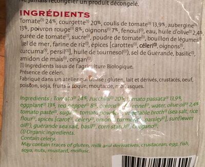 Ratatouille Bio cuisinée à l'huile d'olive et basilic - Ingrediënten - fr