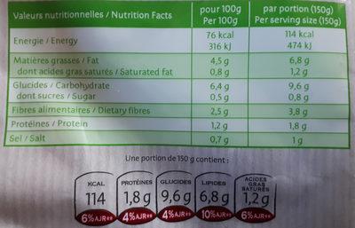 Ratatouille Bio cuisinée à l'huile d'olive et basilic - Voedingswaarden - fr