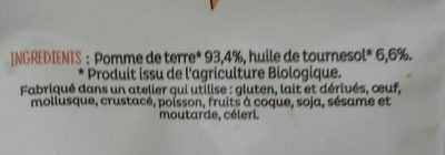 Frites du bistrot Bio à l'huile de tournesol - Ingrédients
