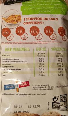 Frites du bistrot Bio à l'huile de tournesol - Informations nutritionnelles