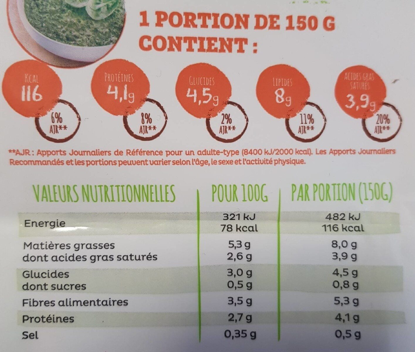 Épinards hachés à la crème BIO - Información nutricional - fr