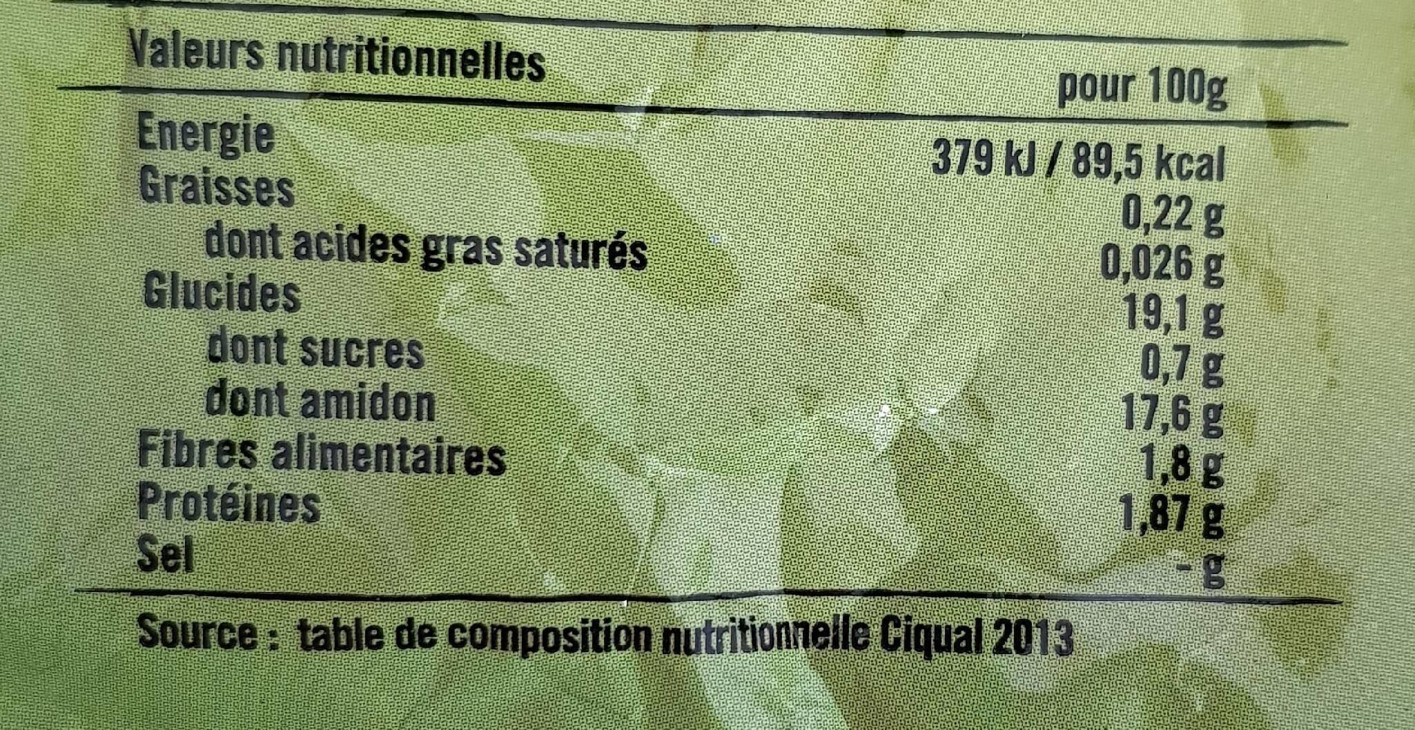 Pomme de terre Primeale Blanches salade risolees - Informations nutritionnelles - fr