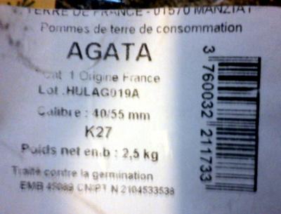 Pommes de terre Agata - Ingrédients - fr