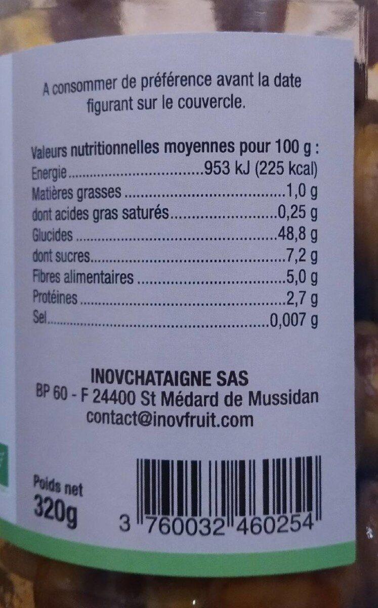 Châtaignes - Informations nutritionnelles - fr