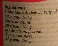 Confiture de fraise mara des bois du Périgord - Ingrédients