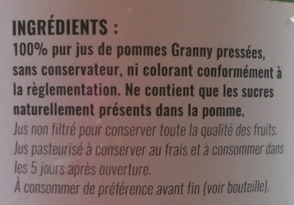 100% Jus de pommes Granny - Ingrédients - fr