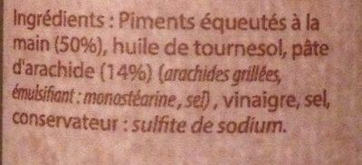Pâte De Piment Cacahuète Toco - Ingrédients