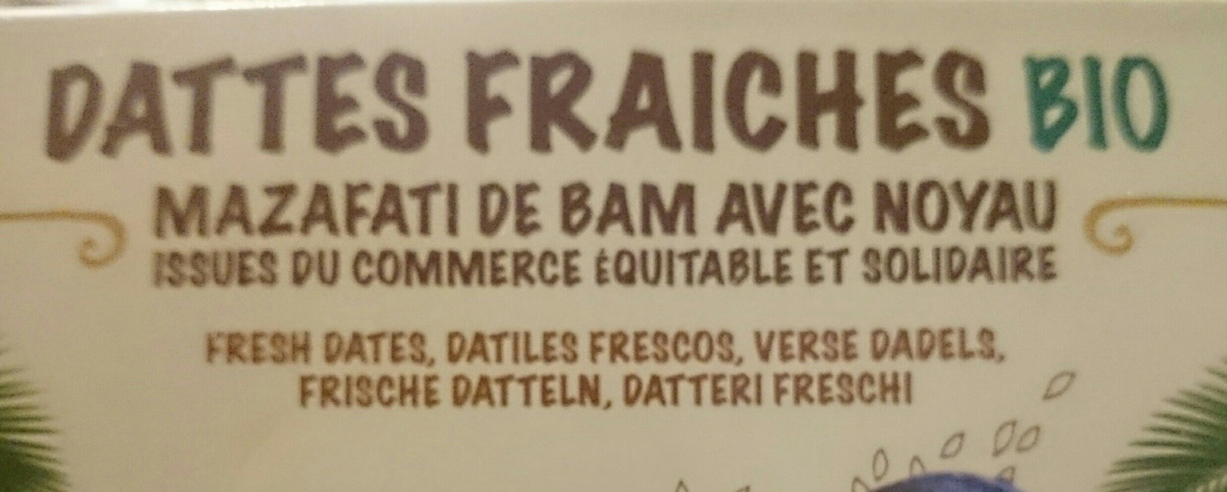 Dattes fraîches bio - Ingrediënten