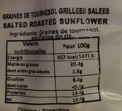 Graines de tournesol grillées salée - Ingrédients - fr
