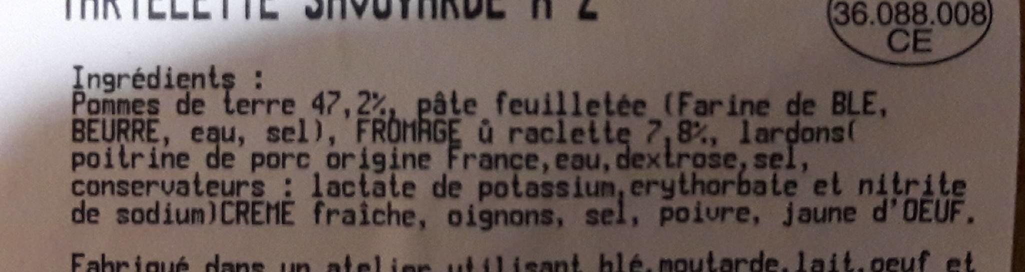 Tartelette savoyarde - Ingrédients