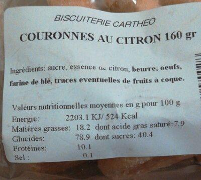 Couronnes au citron - Nährwertangaben - fr