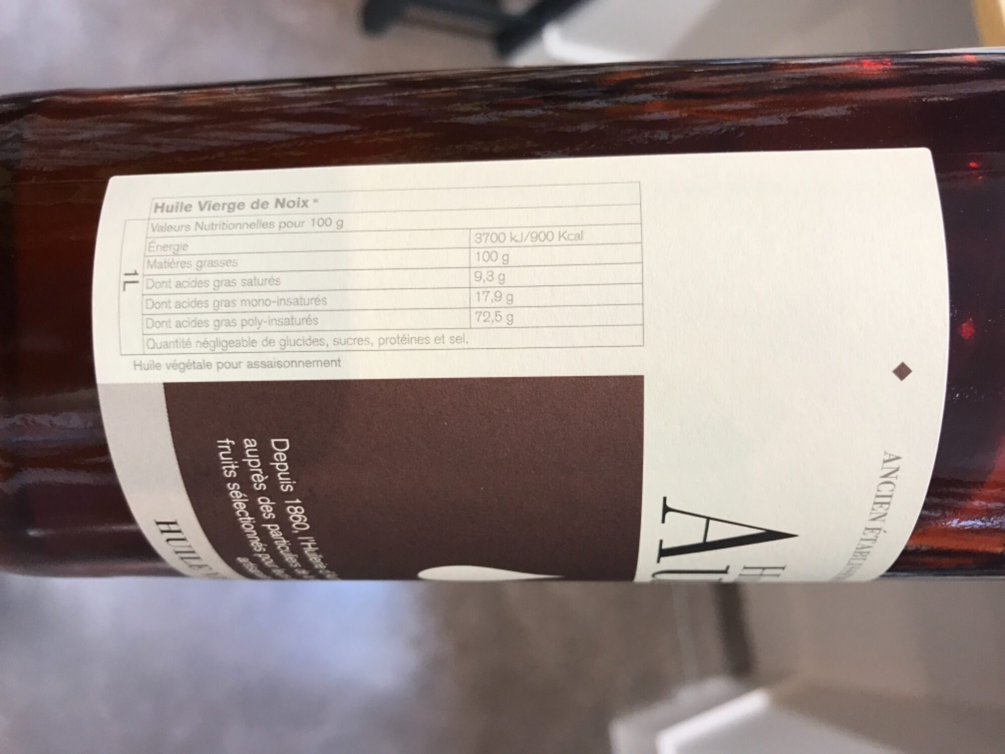 Huile vierge de noix - Ingredients - fr