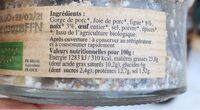 TERRINE FIGUE NOIX BIO 110G - Nutrition facts - fr