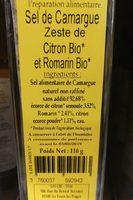 Sel de Camargue aeste de citron bio et de romarin bio - Ingrédients - fr