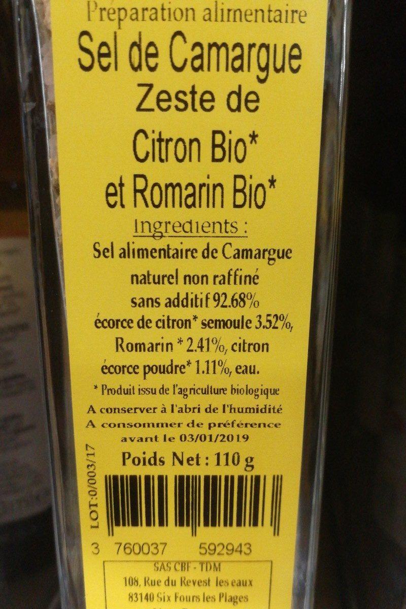 Sel de Camargue aeste de citron bio et de romarin bio - Ingrediënten
