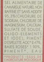sel de Camargue piment d'espelette AOC et baies roses - Ingredients - fr