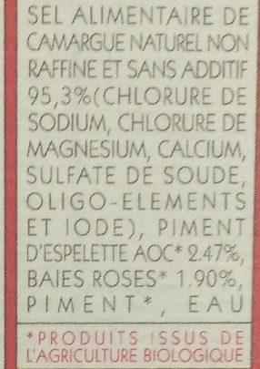 sel de Camargue piment d'espelette AOC et baies roses - Ingrédients - fr