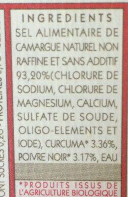 Sel de camargue curcuma et poivre noir - Ingrédients - fr