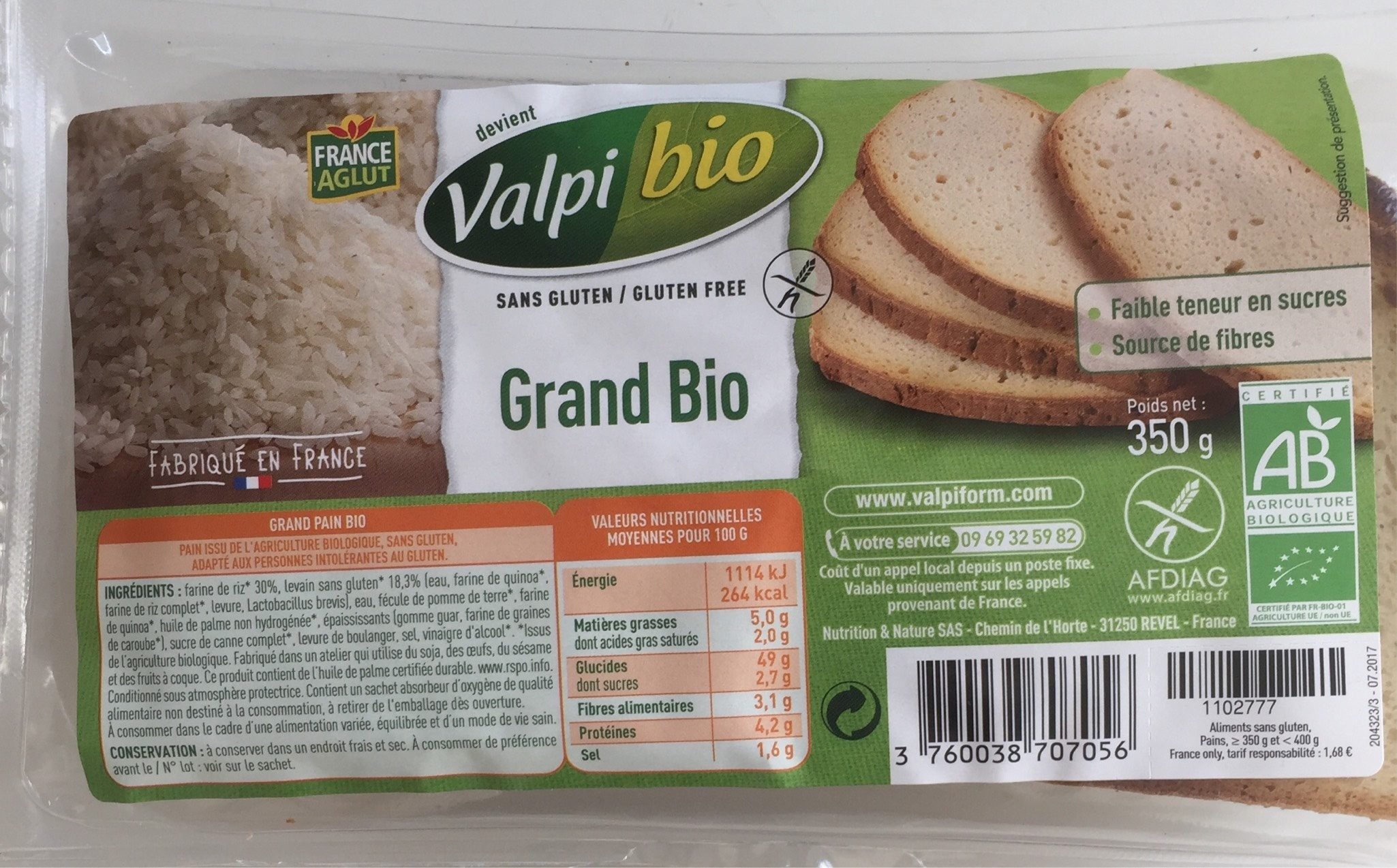 Le Grand - Pain Bio - 350 G - Valpibio - Produit - fr