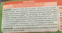 Le Grand - Pain Bio - 350 G - Valpibio - Ingrédients