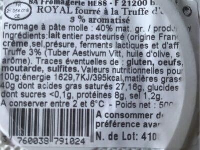 Brillat-savarin à la truffe - Nutrition facts
