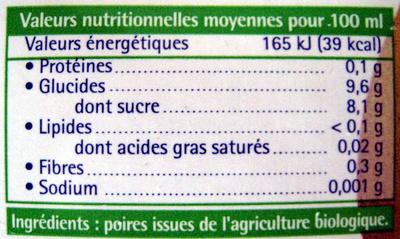 100 % Pur Jus de Poire Biologique - Valori nutrizionali - fr
