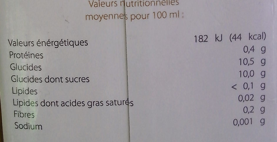Fruits du Verger - Informations nutritionnelles - fr
