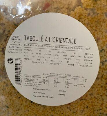 Taboule a l'orientale - Valori nutrizionali - fr