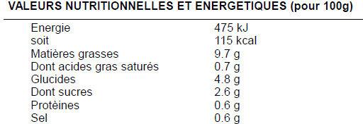 Carottes râpées assaisonnées - Informations nutritionnelles - fr