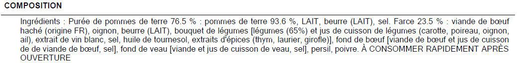 Hachis parmentier pu boeuf français - Ingrédients