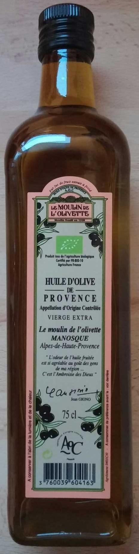 Huile d 39 olive de provence le moulin de l 39 olivette 75 cl for Huile d olive salon de provence