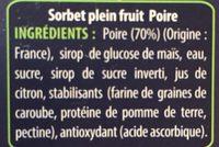 750ML Sorbet Poire Angelys - Ingredients - fr