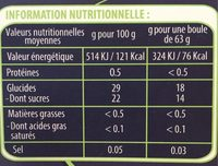 750ML Sorbet Poire Angelys - Nutrition facts - fr