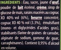 Crème glacée Cognac-Raisins - Ingredients - fr