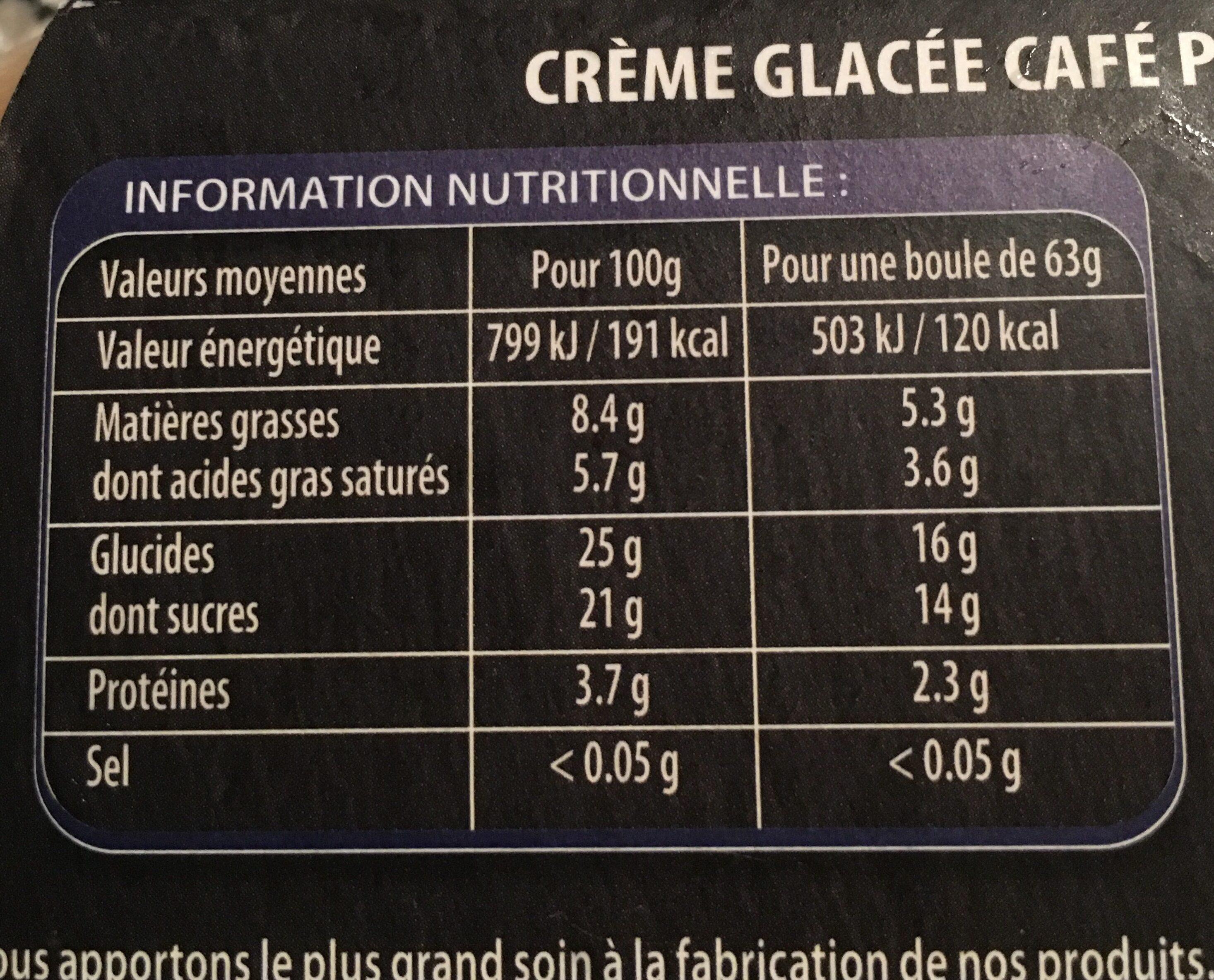 750ML Sorbet Cafe Angelys - Informations nutritionnelles - fr