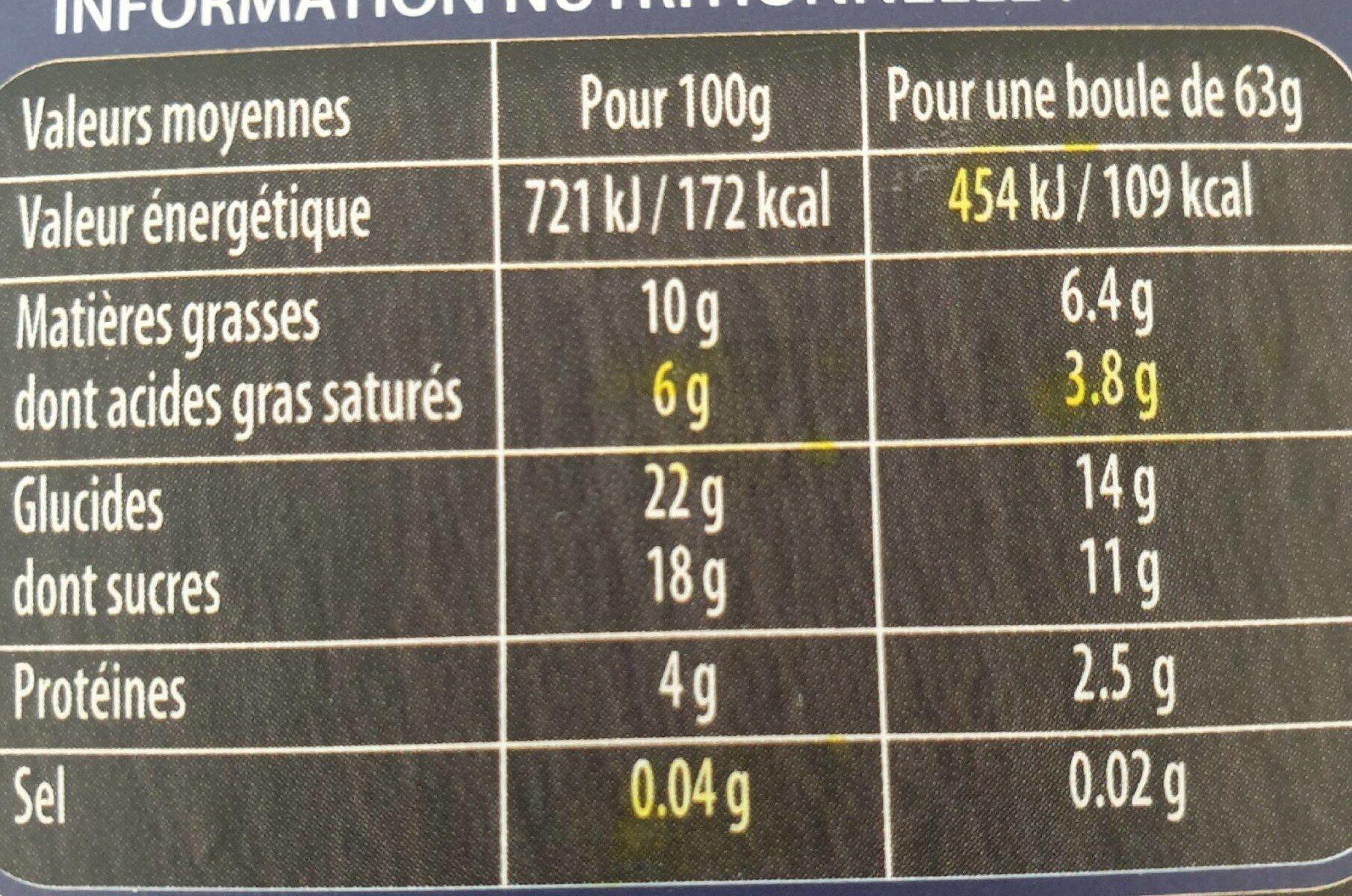 Crème glacée Vanille - Nutrition facts - fr